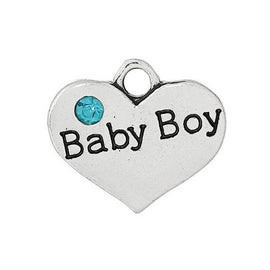 "1 Antique Silver Sky Blue Rhinestone ""Baby Boy"" Heart Charm Pendant 16x14mm  chs1396a"