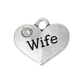 "1 Antique Silver Rhinestone ""Wife"" Heart Charm Pendant 16x14mm  chs1338a"
