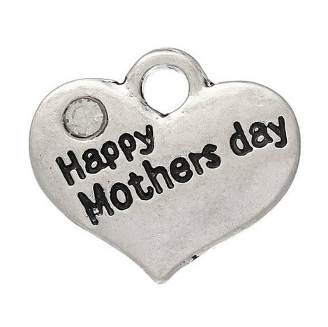 "1 Antique Silver Rhinestone ""Happy Mother's Day"" Heart Charm Pendant 16x14mm chs2296a"