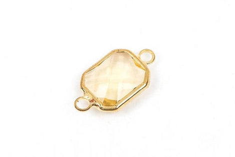"1 Rectangle Gold Brass Connector Link Charm, faceted LIGHT TOPAZ Citrine Glass, 18x11mm, 3/4"" long, November Birthstone, chg0196"