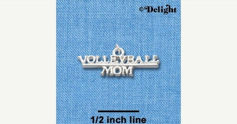 1 Silver Plated Charm Pendant, VOLLEYBALL MOM  chs1129