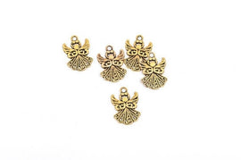 "8 Filigree ANGEL Charm Pendants, antiqued gold tone metal, 3/4"" tall chg0174"