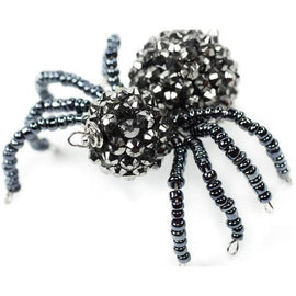 1 BLACK Bead SPIDER charm pendant, pave beads, seed beads, cho0120