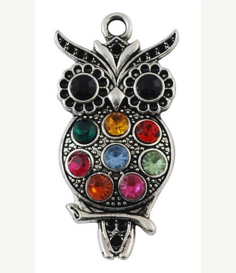 1 OWL Charm Pendant with Multicolored Rhinestones  chs1032