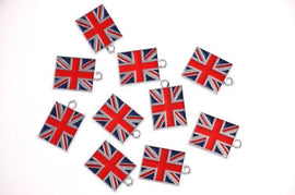 Silver Metal Enamel UK British FLAG Charm Pendants  Che0001