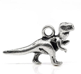 Silver Metal DINOSAUR CHARMS or Pendants . 10 pieces  chs0826