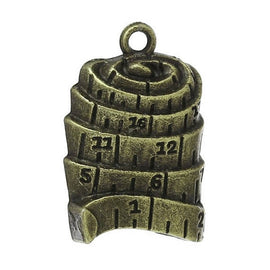 "10 Bronze MEASURING TAPE Ruler Charm Pendants, antiqued bronze metal, large 1"" long chb0380"