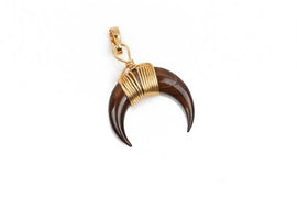 "TORTOISESHELL BROWN Double Horn Charm Pendant, Crescent Horn, Gold Wire Wrap, Upside Down Moon, Dyed Shell, 20mm (3/4"") cho0193"