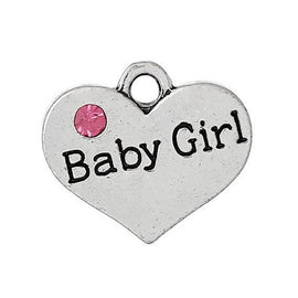 "1 Antique Silver Pink Rhinestone ""Baby Girl"" Heart Charm Pendant 17x15mm  chs1397a"