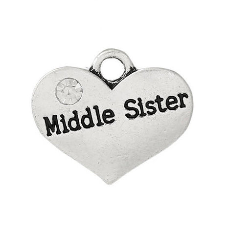 "1 Silver Tone Rhinestone "" Middle Sister "" Heart Charm Pendant 16x14mm chs1046"