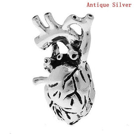 1 HEART Anatomical Body Parts Pewter Charm Pendant, 3D design, chs0570