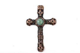 2 Copper and Turquoise CROSS Pendants, Copper base with turquoise cabochon, rustic metal, 40x25mm, chc0047