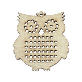 "4 Counted Cross Stitch WOOD BLANK Owl Animal Shapes, 1-3/4"" x 1-5/8""  make your own embroidery charm pendant, cho0133"