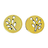 "10 Gold Tone TREE Cutout Disc Circle Round Charm Pendants, 1/2""  chg0269a"