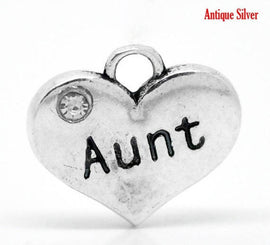 1 AUNT Antique Silver Tone Charm Pendants, heart with rhinestones  chs0854a