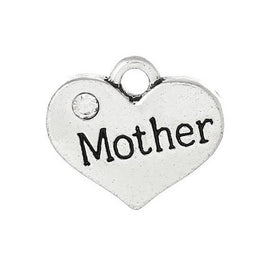 "1 Antique Silver Rhinestone ""Mother"" Heart Charm Pendant 17x15mm  chs1414a"