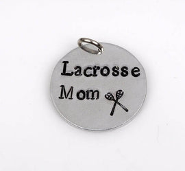 "LACROSSE MOM Hand Stamped Disc Charm Pendant, Lax charms, 3/4"" diameter"