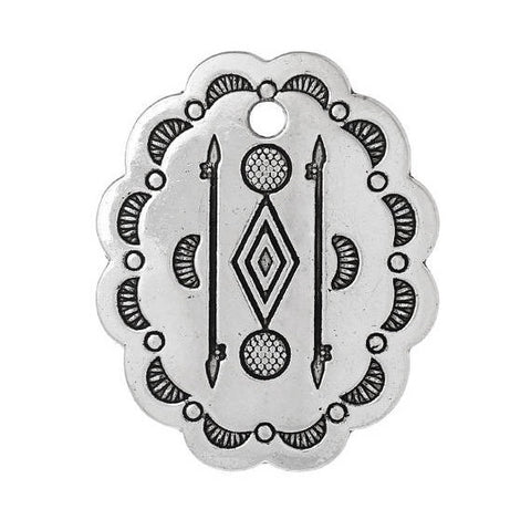 "5 Silver Oval Concho Charm Pendants, Southwestern style, tribal charms, 33mm (1-1/4"" long) chs2381"