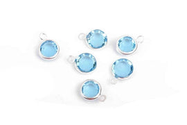 6 AQUAMARINE Light BLUE Rhinestone Faceted Circle Charms, 6mm Silver Drop Charms, Crystal Glass in Bezel, March Birthstone, chs2932