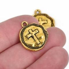 10 Gold Coin Relic Charm Pendants, Cross with wax seal, round coin charms, 22x19mm, chg0588
