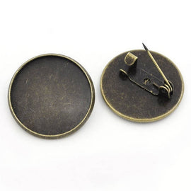 "10 Bronze Brooch Pins with Bezel Cabochon Tray, 3/4"" Bezel Tray (fits 20mm) pin backs, pin blanks, pin0101"