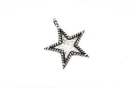 5 STAR Bezel Charm Pendants, antiqued silver metal, recessed bezel, 33x30mm, chs2430