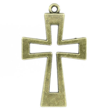 1 Antique Bronze Tone OPEN CROSS Charm Pendant . 54mm x 34mm . chb0012