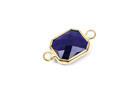 "1 Rectangle Gold Brass Connector Link Charm, faceted SAPPHIRE COBALT Blue Glass, 18x11mm, 3/4"" long September Birthstone, chg0191"