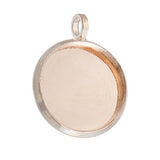 10 Rose Gold Round Circle CABOCHON SETTING Bezel Frame Charm Pendants (fits 12mm cabs), cho0165