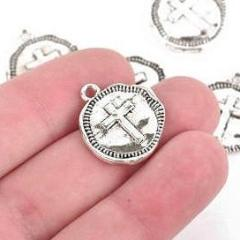 10 Silver Coin Relic Charm Pendants, Cross with wax seal, round coin charms, 22x19mm, chs2945