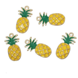 4 PINEAPPLE Charm Pendants, Yellow and Green enamel and GOLD plating, gold charms, symbol of hospitality, chg0272