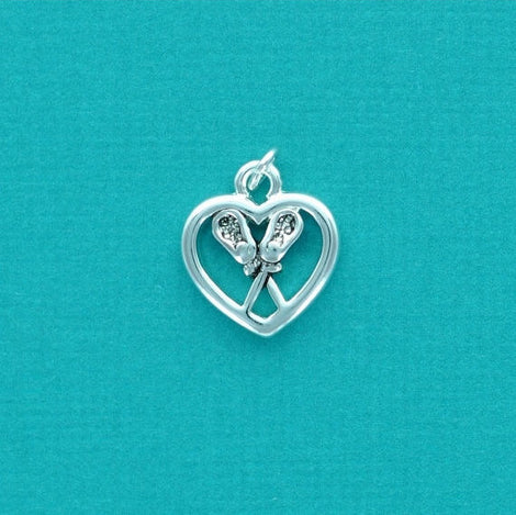 1 silver plated LACROSSE STICKS Heart cutout charm  chs1309
