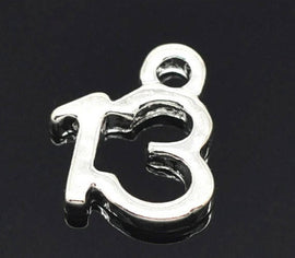 6 Number 13 Charms, Silver Plated Pendants, number thirteen, chs2138