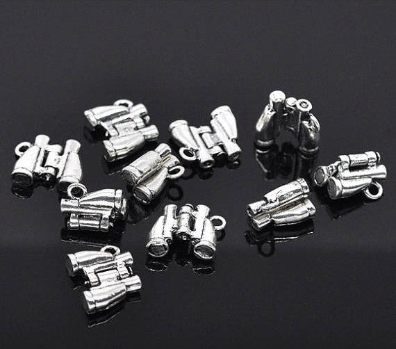 6 Binoculars Charm Pendants, Camping Theme Charms, Bird Watching Charms, Silver Tone Metal  17x14mm . moveable chs1844