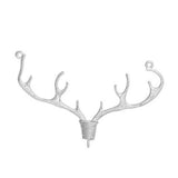 "1 DEER STAG Antler Charm Pendant Connector, Silver Tone Nature Animal Charm, 10 point Buck, 1-3/4"" wide chs2765"