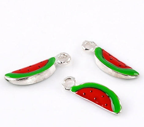 1 Silver and Enamel WATERMELON Charm Pendant . CHE0007