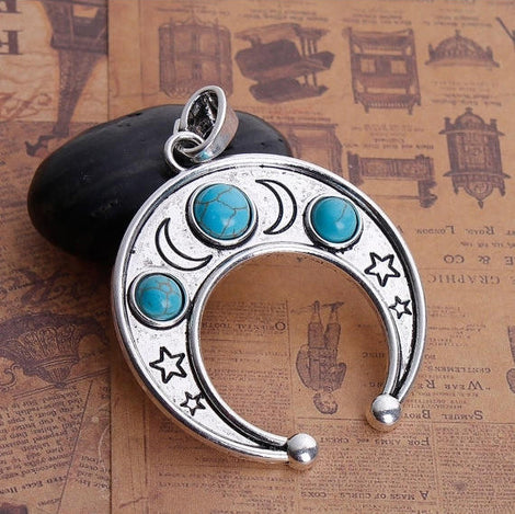 "1 Silver CRESCENT MOON Pendant Charm with star design and faux turquoise, Silver Bail, Upside Down Half Moon, 2-1/4"" wide chs2810"