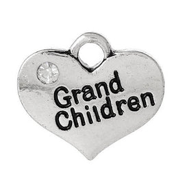 "1 Antique Silver Rhinestone ""Grand Children"" Heart Charm Pendant proposal, 16x14mm  chs1765a"