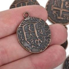 5 Copper Coin Relic Charm Pendants, round coin charms, copper plated metal, double sided design, 30x25mm, chc0065