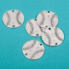 "4 Silver Oxidized BASEBALL Connector Link Charms, stamping blanks, 1-1/4""  chs1670"