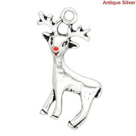 4 Silver Pewter CHRISTMAS REINDEER Charm Pendants, Rudolph with red enamel nose chs0659