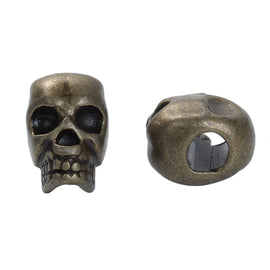 30 Bronze Metal SKULL Beads, Large Hole, drilled top to bottom, great for leather cord, 12mm, bme0409b