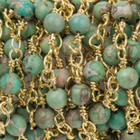 13 feet (4.33 yards) Green AQUA TERRA JASPER Gemstone Rosary Chain, double wrap gold links, 8mm round natural gemstone beads, fch0726b