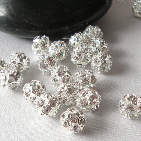 10 pc Silver Plated Rhinestone Crystal Disco Ball Spacer Beads Fireball . 6mm   bme0011