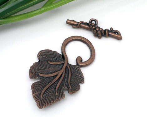 Copper Metal Fancy Toggle Clasps Grape Leaves 5 pc fcl0061