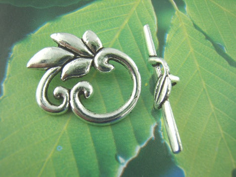 5 sets Antiqued Silver Fancy Toggle Clasps . LEAF DESIGN  fcl0049