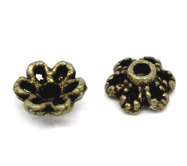Tiny Antique Bronze Flower Bead Caps Findings . Fit 8-12mm Bead . 50 pieces . fin0105a