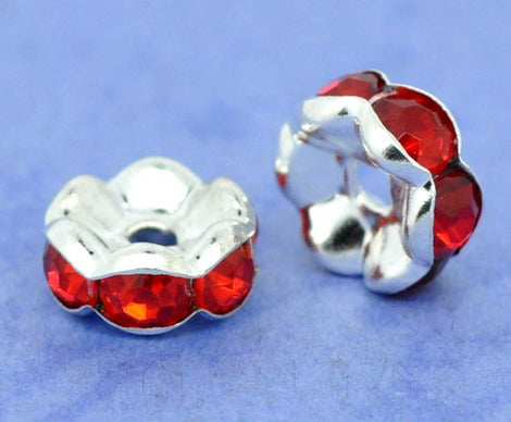 8mm RED LIGHT SIAM Rhinestone Crystal Spacer Rondelle Beads . 10 pieces . Scalloped Edge . bme0211