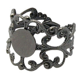 BLACK Gunmetal Filigree Ring Blanks, Brass Metallic Ring Blanks . fully adjustable sizing . 10 pieces fin0066