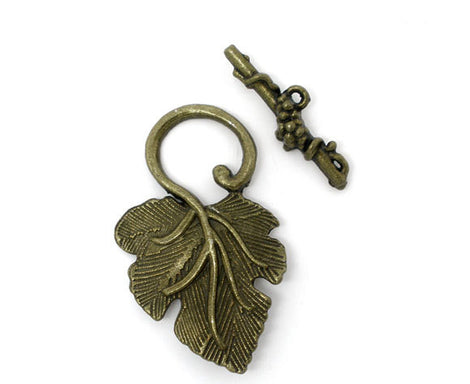Antique Bronze Metal Fancy Toggle Clasps  Grape Leaves  5 sets  fcl0087